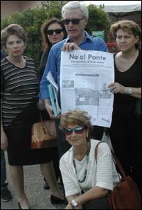 Anti-bridge protestors in Messina