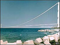 Computer simulation of Sicily bridge