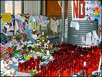 Part of the shrine to the victims at Madrid's Atocha station