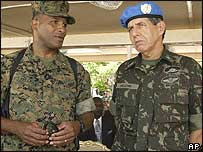 US Marine General Ronald Coleman with Brazilian General Augusto Heleno Ribeiro Pereira during the handover ceremony