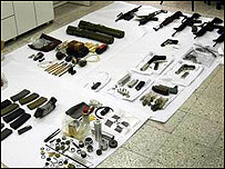 Guns and ammunition seized from Israeli gangsters