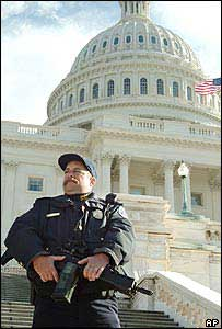 An armed guard outside the US Congress