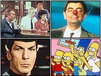Clockwise from top left: Cliff from Cheers, Mr Bean, Lisa Simpson and Mr Spock