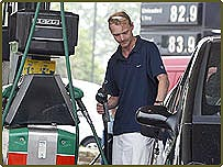 Man filling his car with petrol