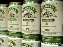 Cans of Harbin Brewery's beer on sale in Hong Kong