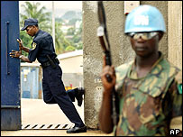Guards outside war crimes court in Freetown, Sierra Leone