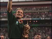 Francois Pienaar celebrates winning the World Cup in 1995