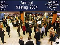 Crowds gather in Davos