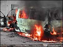 UN vehicle on fire