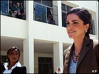 Queen Rania of Jordan visiting Suweifyeh High School in Amman
