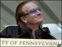 Singer Bono speaks at University of Pennsylvania graduation