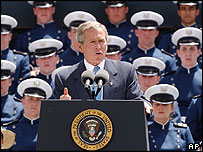 George W Bush speaks at the US Air Force Academy commencement