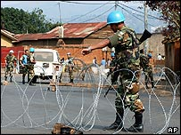 Uruguayan United Nation Mission in Congo soldiers set up a checkpoint in Bukavu