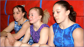 Beth Tweddle, Katy Lennon and Vanessa Hobbs