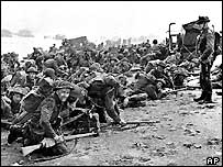 British troops wait for the signal to move forward in Normandy
