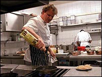 Gordon Ramsay in a kitchen
