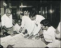 Censors examine a Punjab newspaper (Photo courtesy The Tribune)