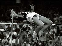 Dick Fosbury uses his 'flop' technique in Mexico