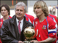 Pavel Nedved (right) collects the trophy for best Czech player