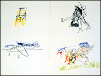 Blindfold drawings by Hussein Chalayan