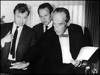 Walter Gropius (right) talks to colleagues