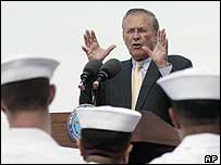 US Defence Secretary Donald Rumsfeld aboard the USS Essex in Singapore on Friday