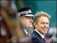Sir John Stevens, Tony Blair and a horse from the Mounted Branch