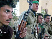 Kurdish peshmerga fighters in Kirkuk