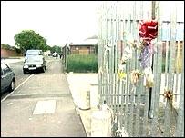 Flowers left near to where Mr Barrett was killed