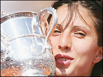 Anastasia Myskina with the French Open trophy