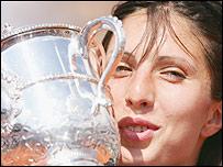 Anastasia Myskina with the French Open trophy
