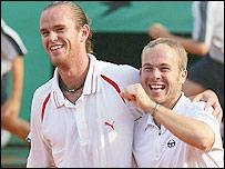 Belgium's Xavier Malisse (left) and Olivier Rochus