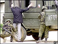 Nato troops at a Kosovo checkpoint