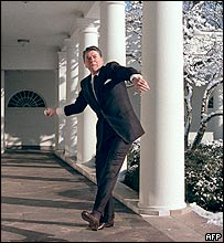Reagan hurling snowball