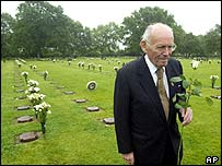 Veteran Alfred Loschert, 84, at the German war cemetery at La Cambe