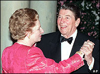 Former US president Ronald Reagan dances with former British prime minister Margaret Thatcher