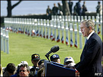 George W Bush addresses veterans at Colleville US cemetery