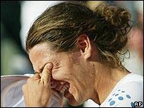Gast�n Gaudio llorando despu�s de ganar.