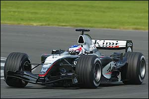 Kimi Raikkonen tries out the new McLaren at Silverstone