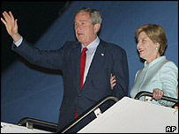 President Bush and his wife Laura arrive in Georgia