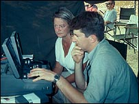 Simon Cumbers working with the BBC's Kate Adie in Oman in 2001