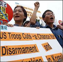 Protesters demanding the withdrawal of U.S. troops in South Korea, 07/06/04