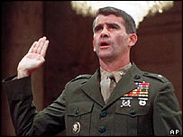 Oliver North testifies over the Iran-contra scandal