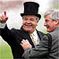 North Light trainer Sir Michael Stoute celebrates his win in the Derby