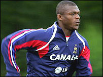 France captain Marcel Desailly in training prior to the start of Euro 2004