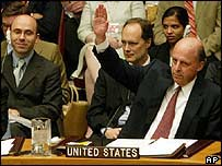 US ambassador to the UN John Negroponte votes for the resolution