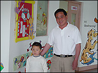 Chen Quandai and his son, Zhengyuan  (June 2004)