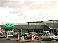 Cars leaving an Asda superstore