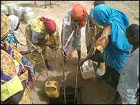 Women getting water from a well