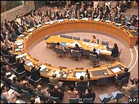 UN Security Council voting on Resolution 1546